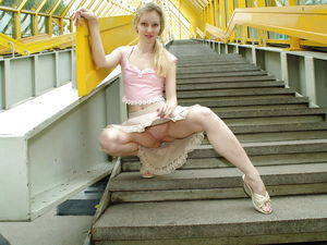 blonde teen upskirt